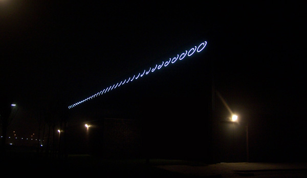 Alexandra Roozen. White neon, black painted steel, 50 mtr, 2010. Commissioned by the municipality of Barendrecht.