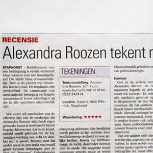 Alexandra Roozen tekent met een boormachine, recensie exhibition Between