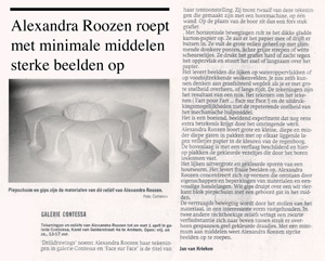 Met een miniumum aan middelen roept Alexandra Roozen sterke beelden op, resencie Face Sur Face