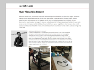 Interview We Like Art! - Alexandra Roozen